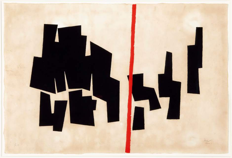 5. Mathias_Goeritz. Formas negras divididas por una línea roja