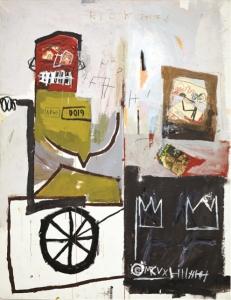 Número 4 (Number 4), 1981 Acrílico, barra de óleo y collage de papel sobre lienzo 167 x 137 cm Colección de Andre Sakhai, cortesía Marianne Boesky Gallery, Nueva York Foto: Jason Wyche © Estate of Jean-Michel Basquiat. Licensed by Artestar, New York
