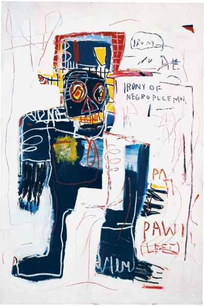 La ironía de un policía negro (Irony of a Negro Policeman), 1981 Acrílico y crayón sobre lienzo 183 x 122 cm Colección particular © Estate of Jean-Michel Basquiat. Licensed by Artestar, New York