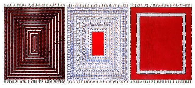 Emboscada » , resina, madera, óleo y collage sobre madera, 3 x 120 x 100 cm, tríptico, 2011