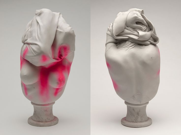 "Tits / 2014 / Pigmented Hydrocal and spray paint /  26"" tall / © Christina West"