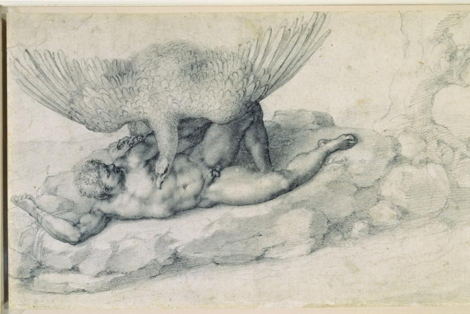 Michelangelo Buonarroti / Tityus / 1532 / Tiza negra / 19.0 x 33.0 cm
