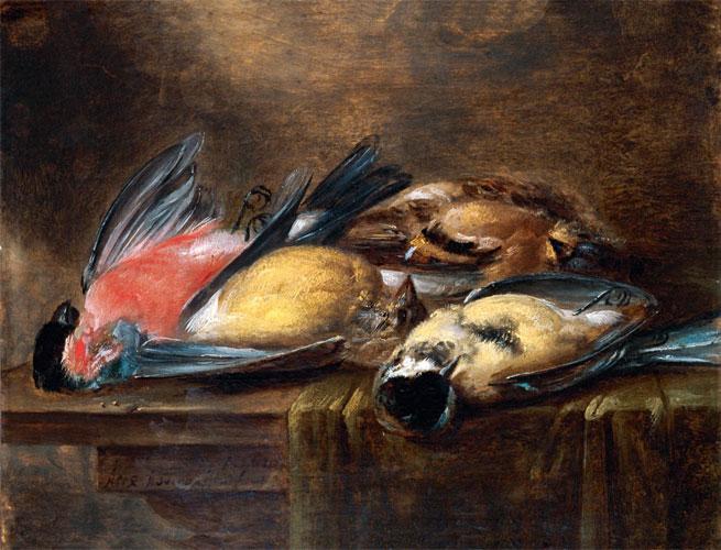 Alexander Adriaenssen, Amberes, 1587 - 1661. Naturaleza muerta con pájaros. Óleo sobre tabla.