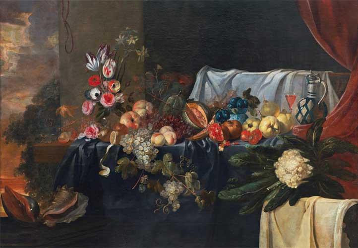 JAN VAN KESSEL EL VIEJO. Naturaleza muerta. Óleo sobre lienzo. 129 x 185 cm