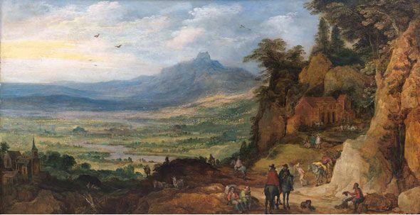 Joost de Momper el joven y Pieter Brueguel el viejo, 1564 - 1635 / 1568 - 1625. Paisaje de montaña con mulas. Óleo sobre tabla.