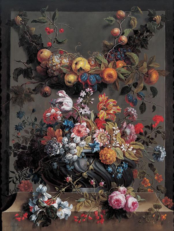 Gaspar-Pieter Verbruggen II, Amberes, 1635 -1687. Jarrón con flores y guirnaldas de fruta. Óleo sobre lienzo.
