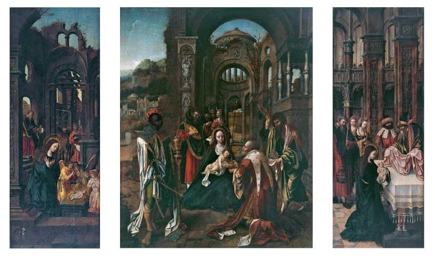 Círculo del Maestro de la Adoración von Groote, activo 1510-1520. Tríptico de la adoración de los reyes. Óleo sobre tabla.
