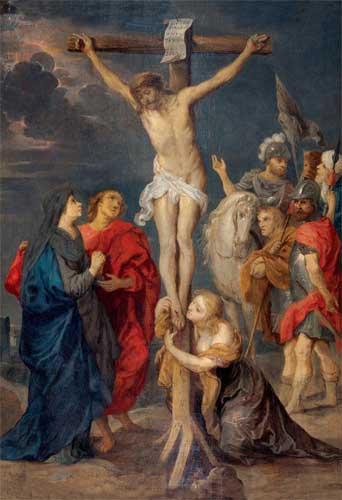 Victor Wolfvoet, 1612-1652. Calvario. Óleo sobre tabla.