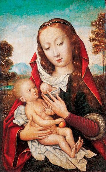 Anónimo de la escuela Flamenca, siglo XVI, Virgen de la leche. Óleo sobre tabla.