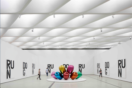 Installation of works by Christopher Wool and Jeff Koons in The Broad's third-floor galleries; photo by Bruce Damonte, courtesy of The Broad and Diller Scofidio + Renfro