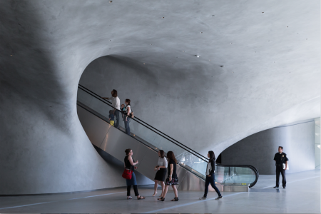 The Broad museum's lobby with escalator; photo by Iwan Baan, courtesy of The Broad and Diller Scofidio + Renfro