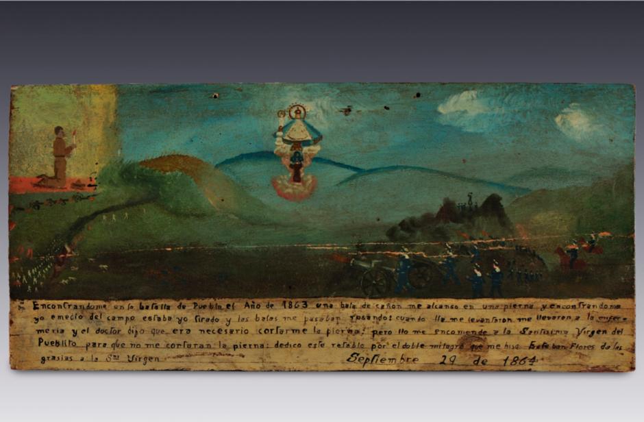Retablo a la Virgen del Pueblito, 1864. Óleo sobre madera