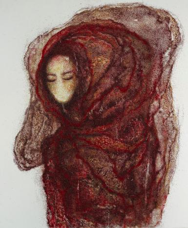"""""""Laberinto compartido"""" 2013-2015 Cabello encapsulado. 95 x 80 cm"""