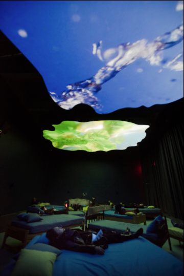 "Pipilotti Rist's ""4th Floor to Mildness,"" a 2016 video and sound installation in which the watery action can be viewed on two large ceiling screens at the New Museum. Photo by Philip Greenberg for The New York Times"