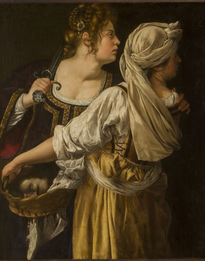 Artemisia Gentileschi. Giuditta e la fantesca Abra. 1613 ca. Óleo sobre tela Firenze, Gallerie degli Uffizi.