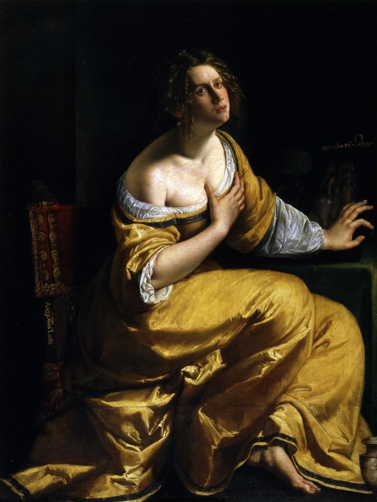 Artemisa Gentileschi. Conversione della Maddalena. 1616-17 ca.  Óleo sobre tela Firenze, Gallerie degli Uffizi.